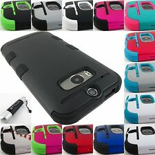 FOR HTC ONE M8 2014 EDITION MYBAT TUFF ARMOR DUAL LAYER HYBRID CASE COVER+STYLUS