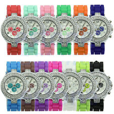 Fashion Geneva Silicone Crystal Quartz Ladies Women Jelly Dial Wrist Watch