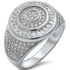 Men's Heavy 3ct Baguette & Pave Cz Fashion .925 Sterling Silver Ring Sizes 8-11