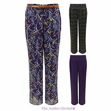 LADIES WOMENS FLORAL PRINT BAGGY WIDE LEG PALAZZO BELTED FLARED TROUSERS PANTS