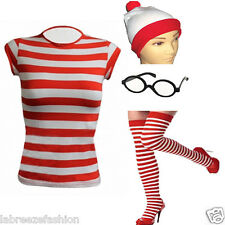 LADIES WHERES RED & WHITE STRIPED T SHIRT HAT GLASSES WALLY STYLE FANCY DRESS