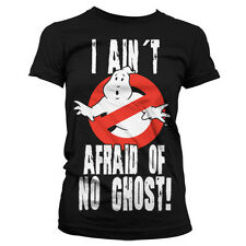 Official Ladies Ghostbusters 'I Ain't Afraid of No Ghost' Logo Black T-Shirt Tee