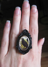 Oddities GOTH Medieval STEAMPUNK Victorian Antiqued CAMEO BLACK Frame RING