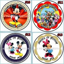 Mickey Mouse Minnie Mouse Birthday Stickers 1 sheet Round Personalized Custom