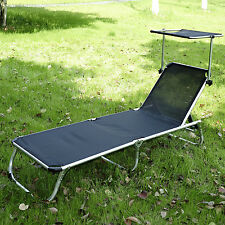 Outdoor Folding Reclining Beach Patio Chaise Lounge Chair Pool Lounger W/Shade