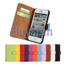 New Genuine Real Leather Card Slot Wallet Cover Case For Apple iPhone 5 5G 5S