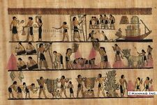 "Egyptian Papyrus Painting - Harvest scene 8X12"" + Hand Painted #85"