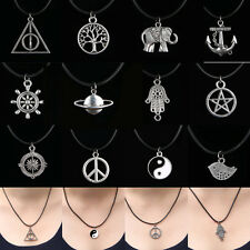 12 Style NEW Tibetan Silver Pendant Necklace Choker Charms Black Leather Cord
