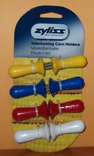 Zyliss Corn Cob Holders Interlocking Prongs Picnic Bright Colors Set of 4 NEW
