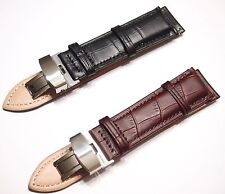 Men Genuine Leather Strap Butterfly Deployment Clasp Watch Band 18mm 20mm 22mm