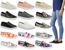 Ladies Womens Girls Flat Slip On Skater Gym Plimsolls Trainers Pumps Shoes Size