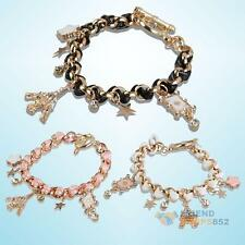 Chic Crystal Eiffel Tower Multi-element Leather Rope Bracelet Chain Charms #F8s