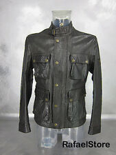 Men's Jacket BELSTAFF Leather Antique Black Made In Italy Gold Label Luxury New