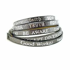 Good Works Make a Difference Wrap Around Leather Bracelet Inspirational Words