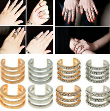 warehouse Gold/Silver Stack Plain/Crystal Above Knuckle Band Mid Finger Tip Ring