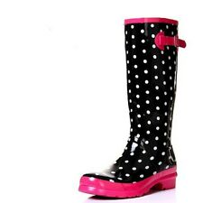 US Size 5-9 Black Dots Rubber Casual Slip On Rain Boots Womens Fashion Shoes