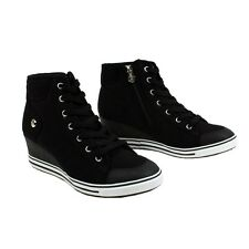 0304-BK Womens Canvas High Top Wedge Heel Lace Up Shoes Fashion Sneakers  Us 6~8