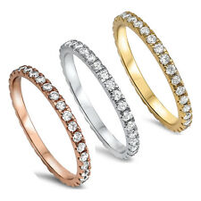 Stackable Wedding Bands Eternity Style .925 Sterling Silver Ring Sizes 2-10