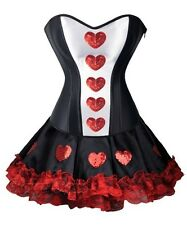 Sexy Queen Of Hearts Corset Costume Mini Skirt punk Size S-2XL Clubwear RR A2386