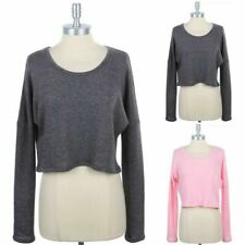 Long Sleeve Cropped Sweater Top Round Neck Casual Cute Comfy Cotton Poly S M L