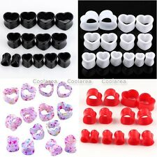Mixed Gauge 14pc Acrylic Heart Hollow Flared Ear Tunnels Plug Expander Stretcher