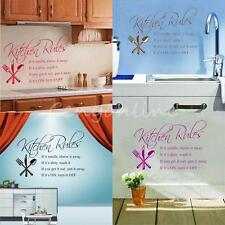 Kitchen Rules Wall Quote Sticker Art Decals Vinyl Decal Decor Stickers Home