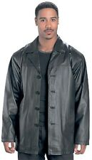 REAL LEATHER Mens JACKET BLACK Classic BOMBER 3/4 Length Coat USA 1710 NEW