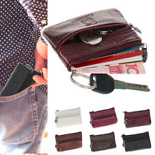 New Genuine LEATHER Zippered Coin Purse Mini Wallet Key Pouch Purse Gift Bag In