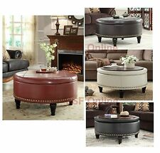 Inspired by Bassett Augusta Wood & Eco Leather Round Storage Ottoman Nail Head