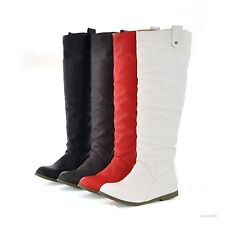 Womens Flat Low Heels Knee High Slouch Rain Boots Working Shoes US Size B637