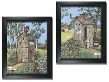 2 Vintage Outhouse Pictures Bathroom Privy Poster Art Prints 8x10 Framed Mounted