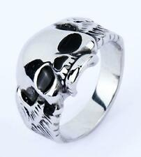 Vintage Gothic Polished Skull Ring Stainless Steel Punk Style Silver US SIZE