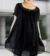S035 womens chiffon black loose top dress plus UK size 10-24