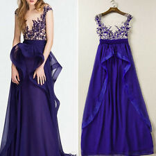 New Long  Applique Prom Gown Evening Formal Party Cocktail Prom Maxi Dress