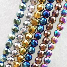Wholesale!4mm Mixed Color Faceted Hematite Round Loose Bead 15.5 inch XLZ-131