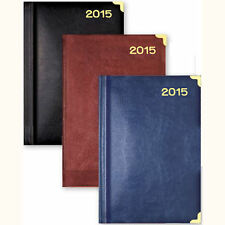Leather Feel A4 2015 Week Day to Page Diary Padded Casebound Journal UAA15