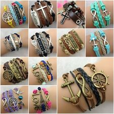 New DIY Fashion Jewelry Lots Style Leather Cute Infinity Charm Bracelet U pick