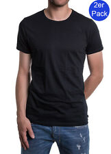 Diesel 2er Pack Herren T-Shirt Dave Round Neck The Essential Cotton - Schwarz