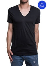 Diesel 2er Pack Herren T-Shirt Dave Deep V Neck The Essential Cotton - Schwarz