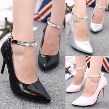 Womens Pointy Toe Crystal Stud Ankle Strap Classic Pumps High Heels Prom Shoes