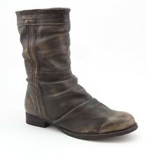 NEW LADIES WOMENS CALF BOOTS LEATHER DISTRESSED PULL ON BROWN SIZE 3 4 5 6 7 8