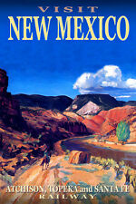 NEW MEXICO Santa Fe Railway New Original Travel Poster-in 3 sizes-Art Print 073a