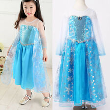 Halloween Frozen Princess kids Girls Elsa Cosplay Formal Fancy Dress Costumes