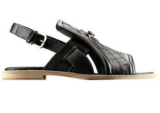 CHANEL 2014 14P Black Quilted Leather Chain CC Open Toe Flat Sandals Shoes $1050