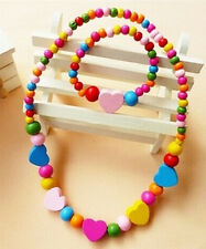 New Pretty Wooden Bead Set Necklace & Bracelet Kids Girls Toy Party Gift