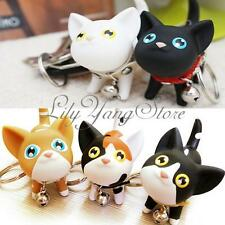 Cat Multi Color Cute Kitten Keychain Keyring Bell Lover Rings For Handbags Gifts