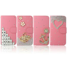 Pink Bling Flip Wallet Leather Case Cover For Samsung iPhone Nokia Sony HTC LG
