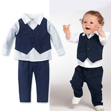 3PC Baby Kids Boys Shirt Tops+Pants+Waistcoat Gentleman Party Outfits Clothes