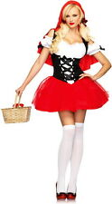 Sexy Racy Little Red Riding Hood Dress n Cape Outfit Adult Halloween Costume NEW