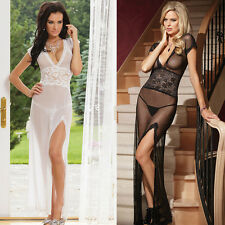 New Woman Sexy Transparent Lingerie Long Pajamas Lady's Evening Dress ClubWear